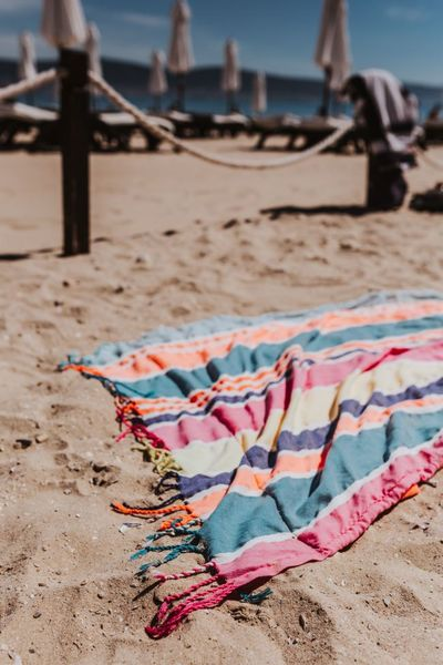 summer, vacation, beach, sand, holidays, colorful, towel, sunny
