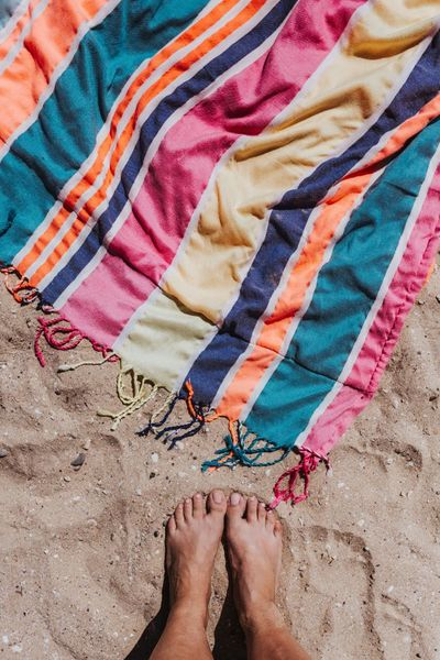 summer, vacation, beach, sand, holidays, feet, toes, legs, towel