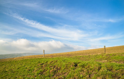 countryside, rural, grass, sky, clouds, hills, nature