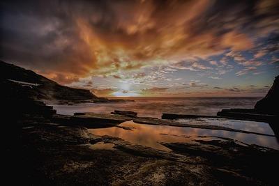 ocean, sea, water, coast, beach, sky, clouds, summer, landscape, scenery, sunset, sundown