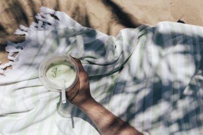 glass, drink, beverage, straw, male, hand, beach, shadows, summer