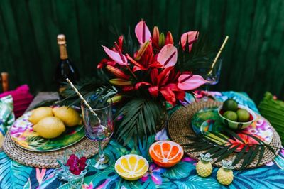 outdoor, table, garden, flowers, decor, tropical, exotic, glass, lemon, fruit