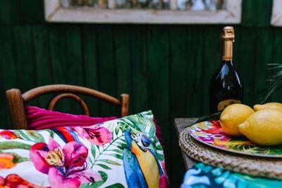 outdoor, picnic, garden, flowers, cushions, tropical, exotic, pattern, lemon, fruit