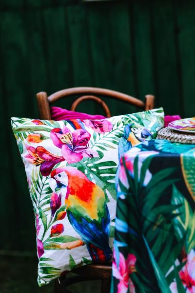 outdoor, garden, table, cushion, pillow, pattern, tropical, exotic, parrot