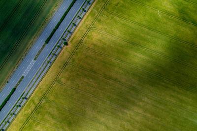 aerial, view, road, field, nature, grass, asphalt