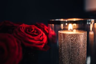 candle, light, fire, flame, red, roses, decor, petals