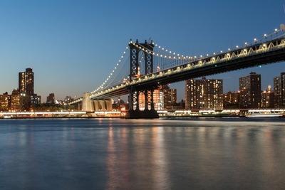 city, river, metropolis, skyline, bridge, architecture, dusk, water, sky, waterscape