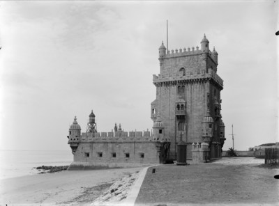 lisbon, portugal, old, black, white, tower, architecture, bastion, beach, monastery