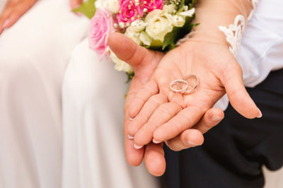 wedding, marriage, bride, groom, rings, ceremony, love, female, male, hands, husband, wife
