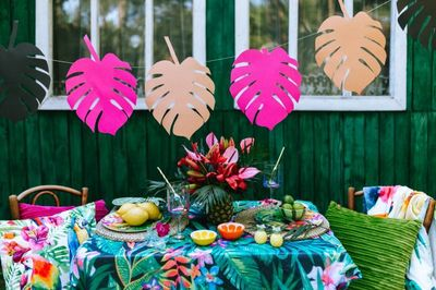 garden, table, outdoor, exotic, tropical, leaves, decor, vegan, breakfast, fruits, colorful
