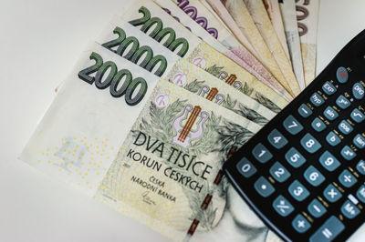 money, cash, currency, banking, calculator, finance, czech, koruna