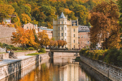 castle, landmark, architecture, building, palace, historic, river, water, autumn, trees