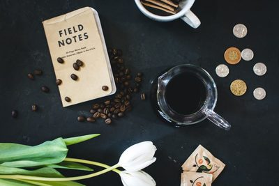 Coffee with field notes and coins