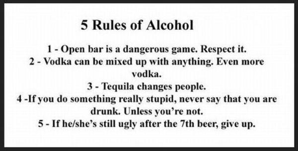 Rules of alcohol