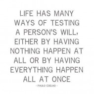Life ha many ways of testing a person's will - Paulo Cohelo