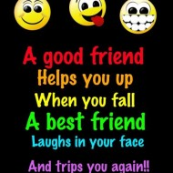 A good friend helps you up when you fall