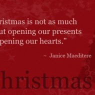Christmas is not as much as about opening our presents as opening our hearts