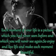 Each moent of your life is a pictures which you had never seen before and which you will never see again