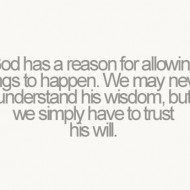 God has a reason for allowing things to happen. We may never understand his wisdom