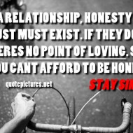 In a relationship, honesty and trust must exist. If they don't, theres no point