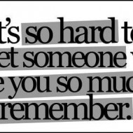 It is so hard to forget someone who gave you so much to remember