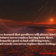 I've leared that goodbyes will always hurt