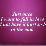 Just once I want to fall in love and not have it hurt so bad in the end