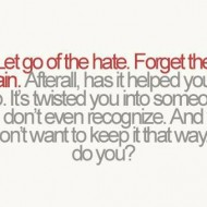 Let go of all the hate. Forget the pain. Afterall, has it helped you
