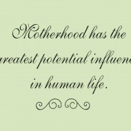Motherhood has the greatest potential influence in human life