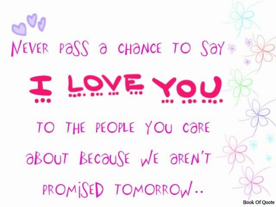 Quote Pictures Never Pass A Change To Say I Love You To The People Stunning Quotes To Say I Love You