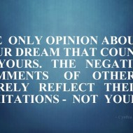 The only opinion about your dream that counts is yours