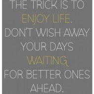 The trick is to enjoy life. Don't wish away your days waiting
