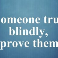 When someone trusts you blindly, never prove them blind