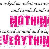 You asked me what was wrong and I smiled and said nothing