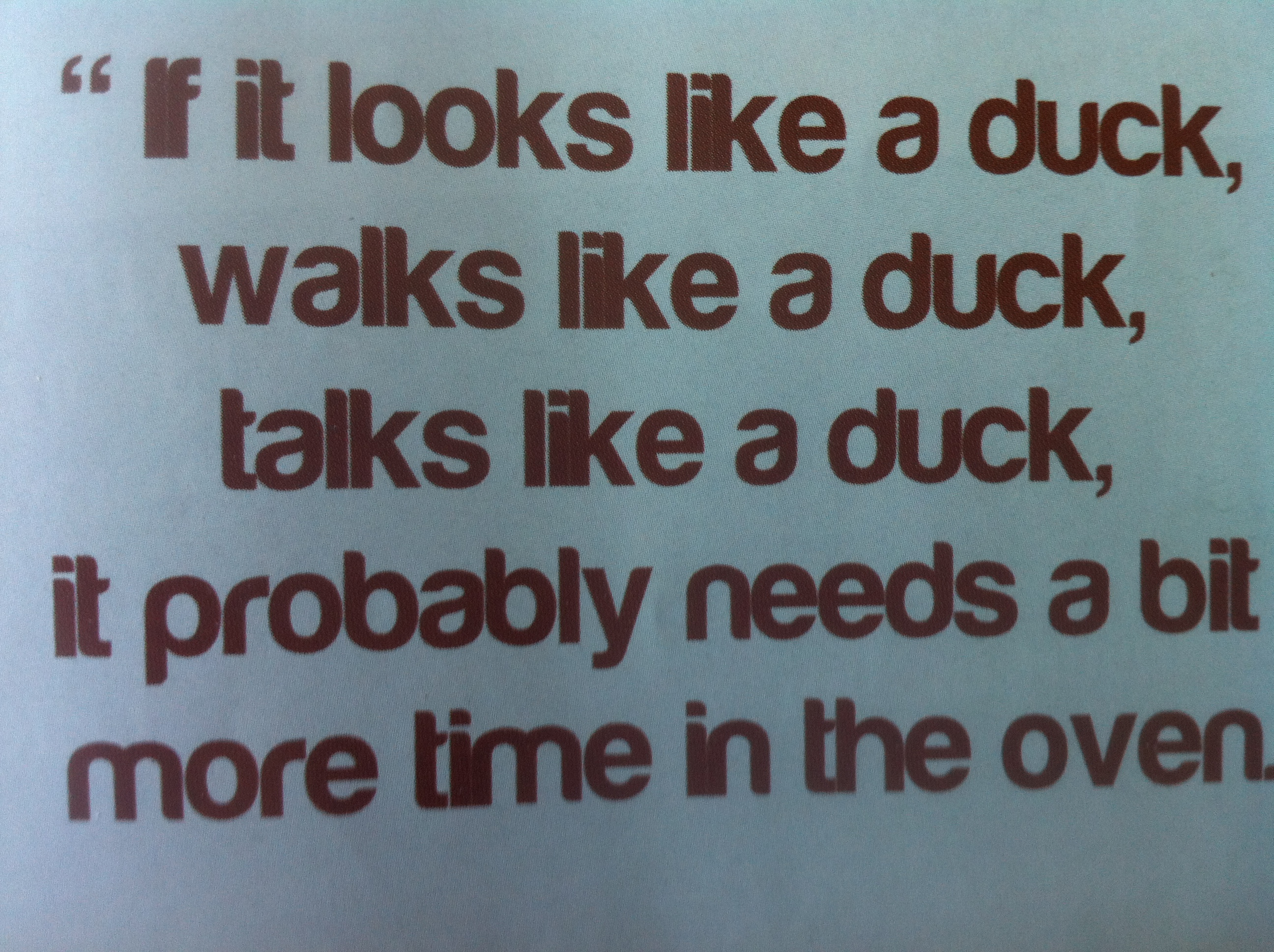 If it looks like a duck, talks like a duck