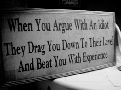when you argue with an idiot