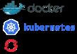 logos de kubernetes, docker e openshift