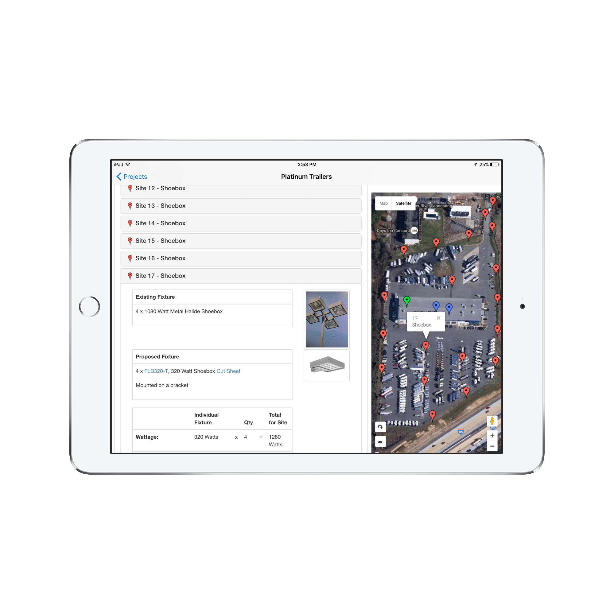 SiteLite iPad LED auditing and mobile sales app quote view