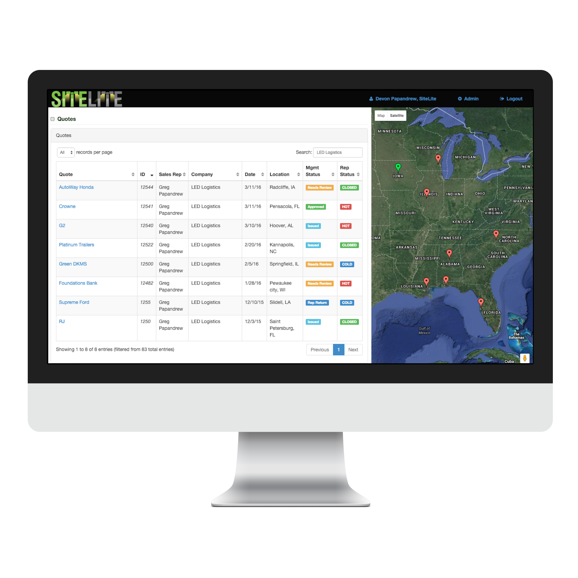 SiteLite lighting sales management dashboard