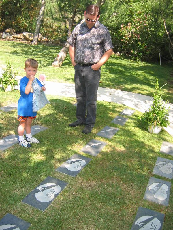 Keegan and his dad at grave
