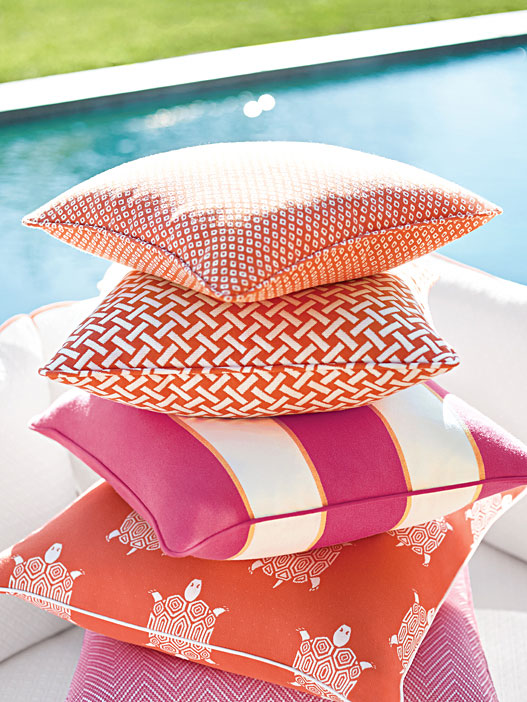 SUNBRELLA and couture outdoor fabrics for your patio cushions and pillows