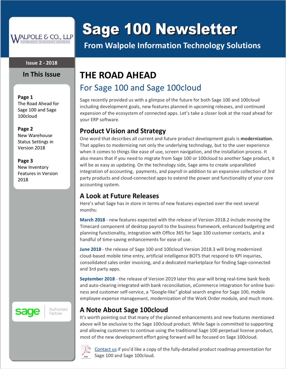 Sage 100 Newsletter April 2018