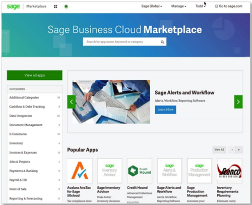 Sage Business Cloud Marketplace