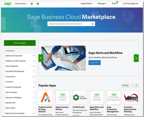 Sage Business Cloud Marketplace