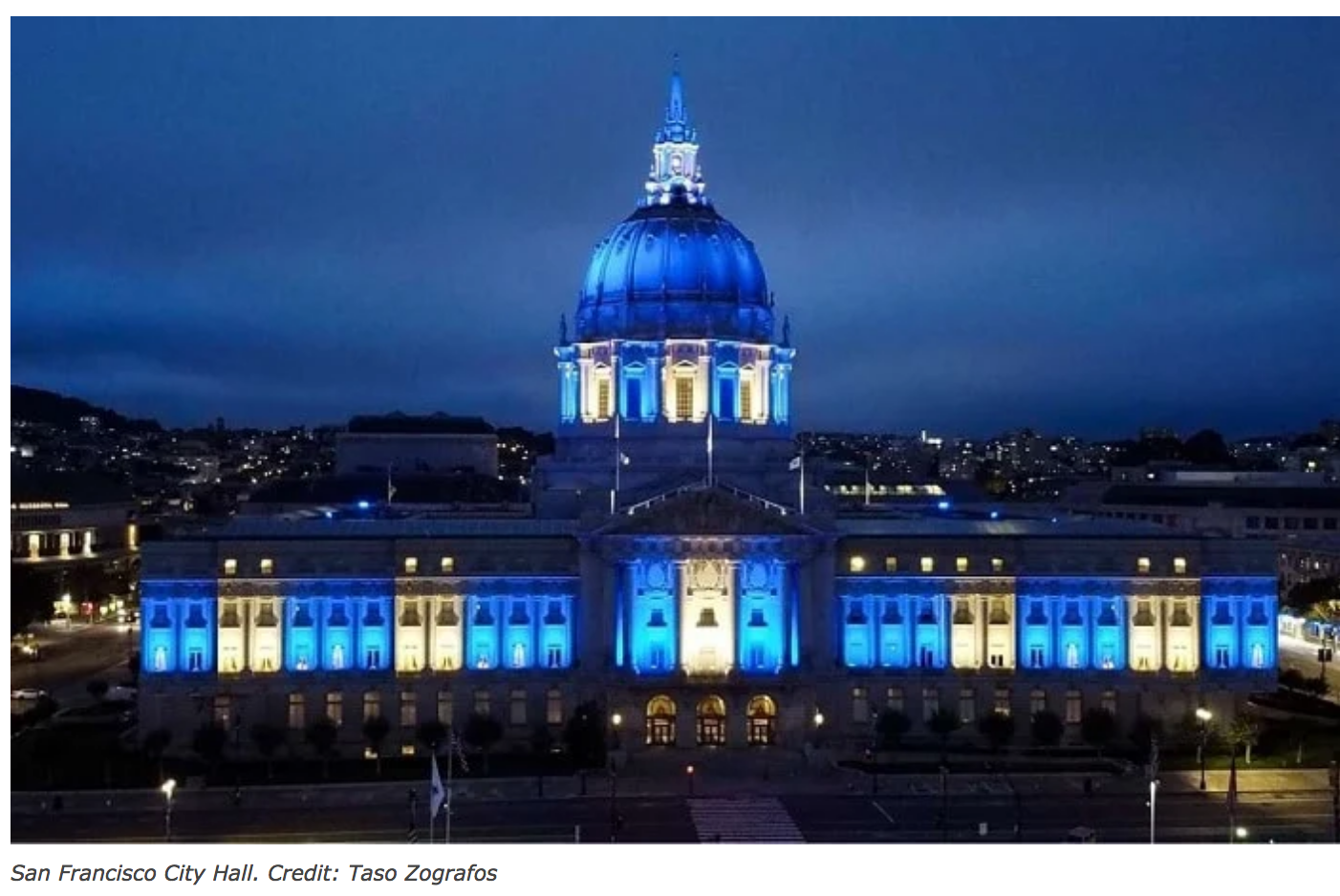 San Francisco City Hall in the colors of the Greek Flag