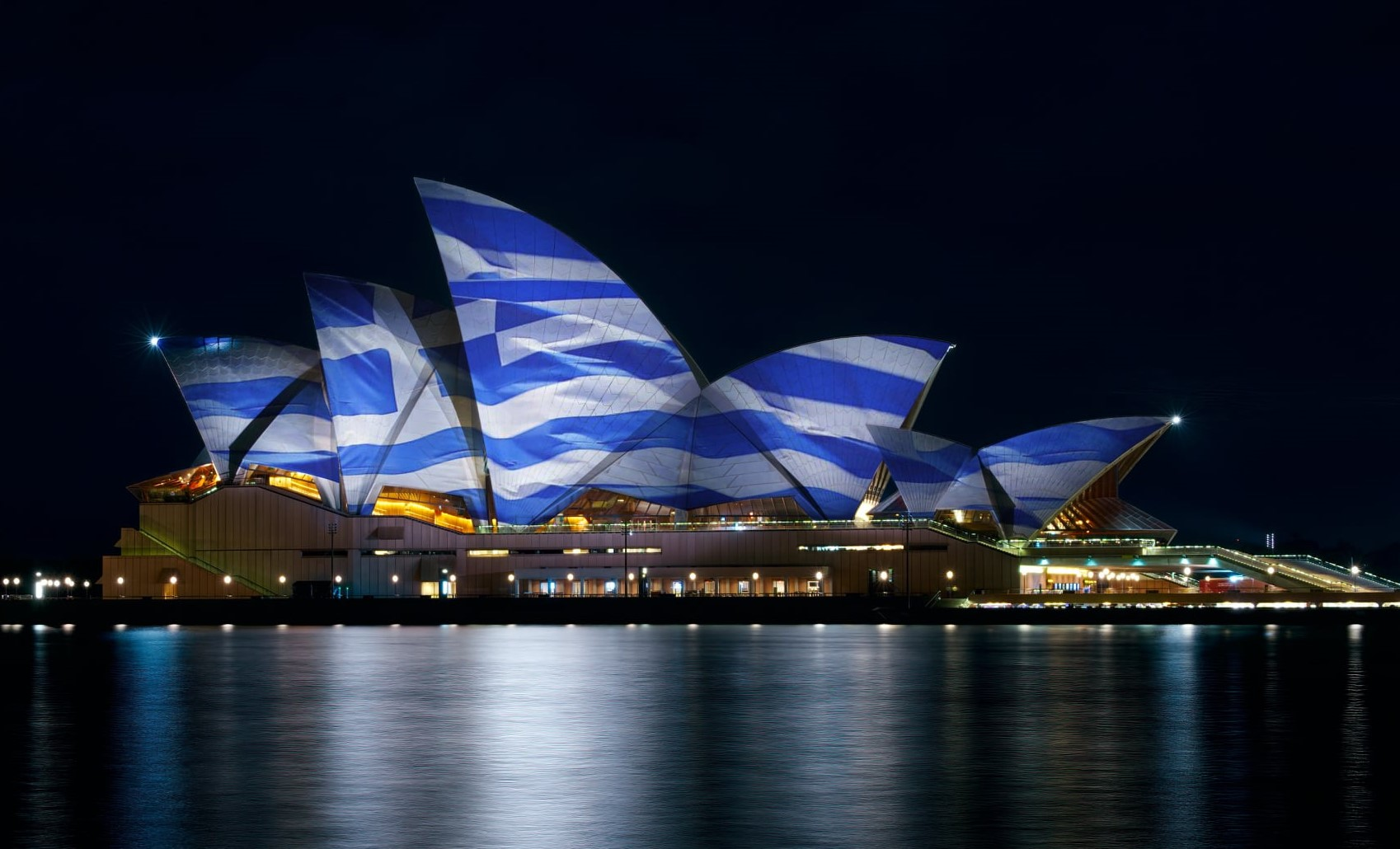 Sydney, Australia Opera House in the colors of the Greek Flag