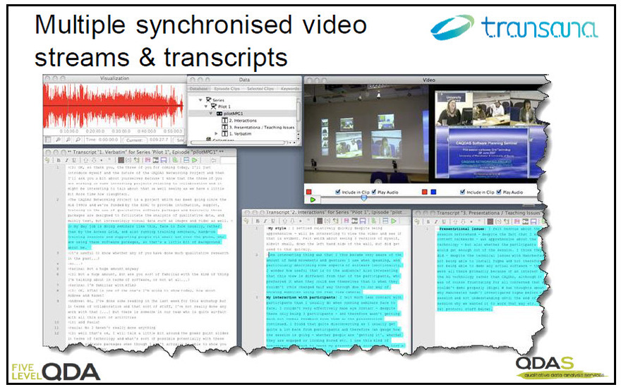 Multiple synchronised video streams and transcripts in Transana