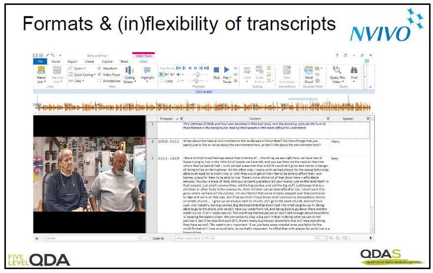 Video file with tabular transcript displayed adjacently in NVivo