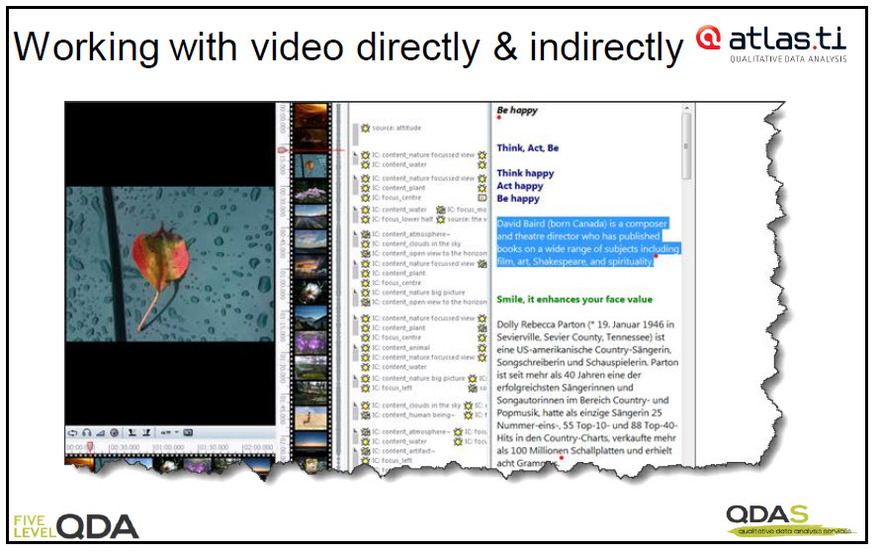 Video file with synchronised transcript displayed adjacently in ATLASti