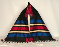 Jacob's striking black, red, gold and blue tallit